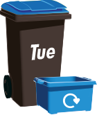 blue recycling bin labelled Tuesday
