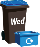 blue recycling bin labelled Wednesday