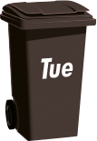 black refuse bin Tuesday